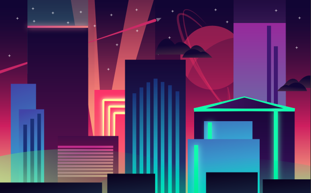 A stylized, colorful, futuristic skyline