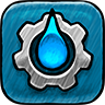 Aqueduct Icon: A small cog with a bright blue water droplet in the center