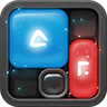 Blockwick Icon: A Blue and red block each with mysterious, glowing symbols